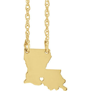 14k Gold 10k Gold Silver Louisiana State Heart Personalized City Necklace