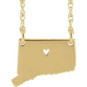 14k Gold 10k Gold Silver Connecticut State Heart Personalized City Necklace