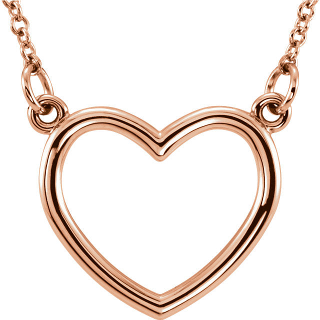 Platinum or 14k Gold or Sterling Silver 17x15.75mm Heart Necklace