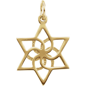 14K Yellow Gold or Sterling Silver Star of David Pendant Charm