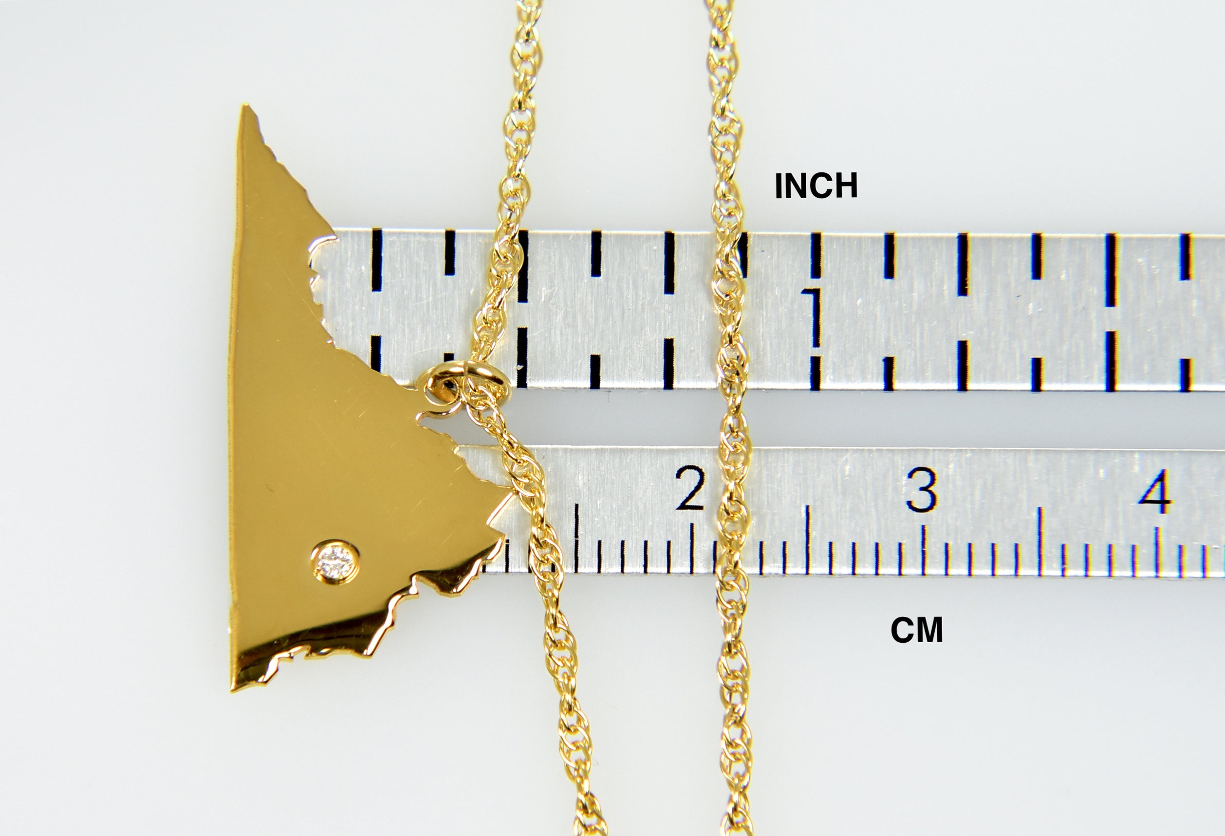 14k Gold 10k Gold Silver Virginia VA State Map Diamond Personalized City Necklace