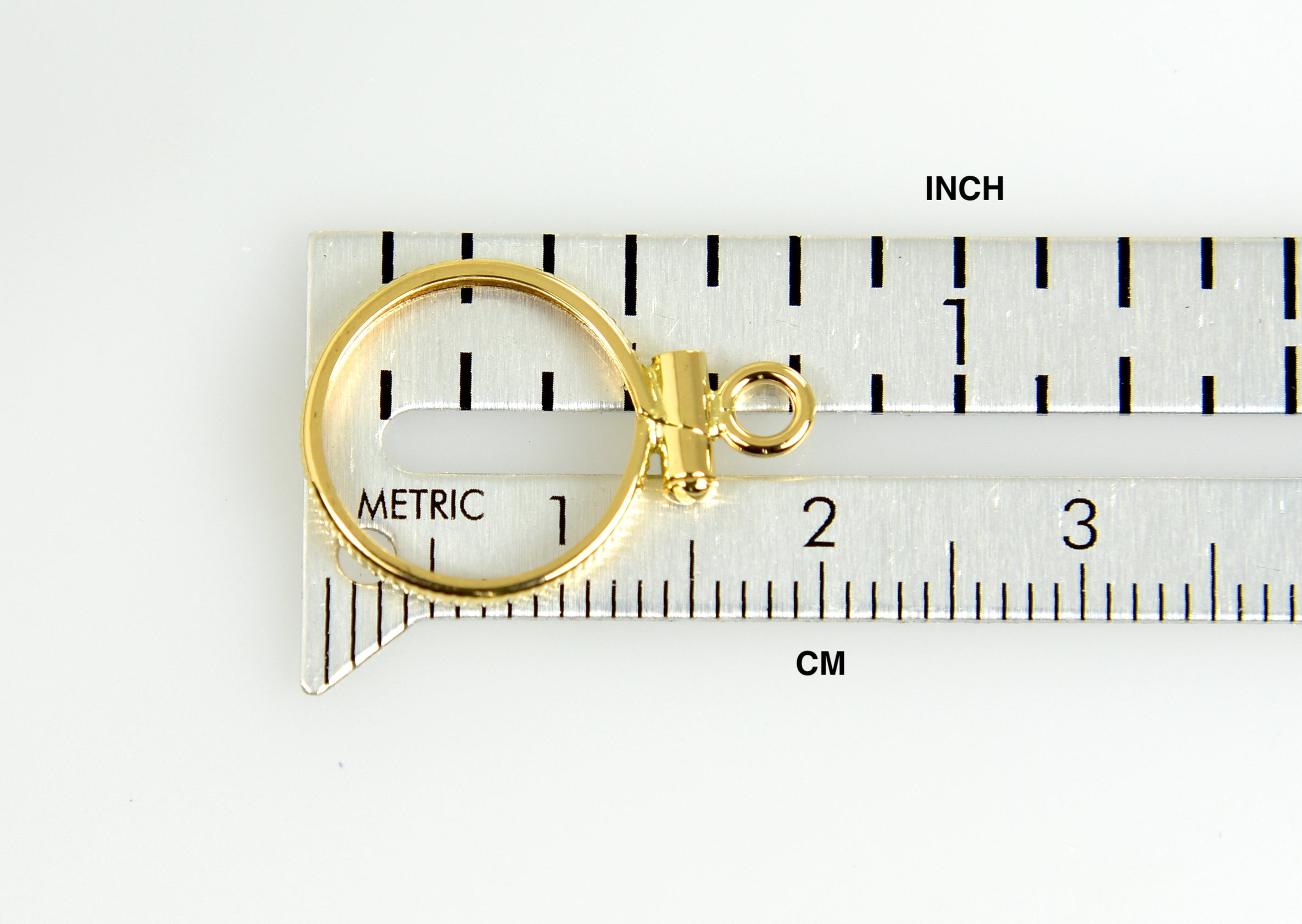 14K Yellow Gold Holds 13mm x 1mm Coins United States 1.00 Dollar Mexican 2 Peso Coin Edge Screw Top Frame Mounting Holder