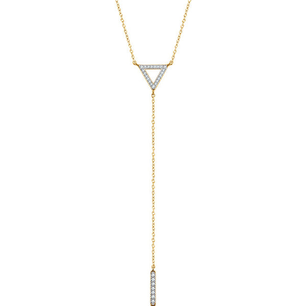 14k Yellow White Rose Gold 1/6 CTW Diamond Triangle Drop Bar Y Lariat Necklace