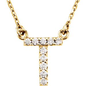 14k Gold 0.08 CTW Diamond Alphabet Initial Letter T Necklace