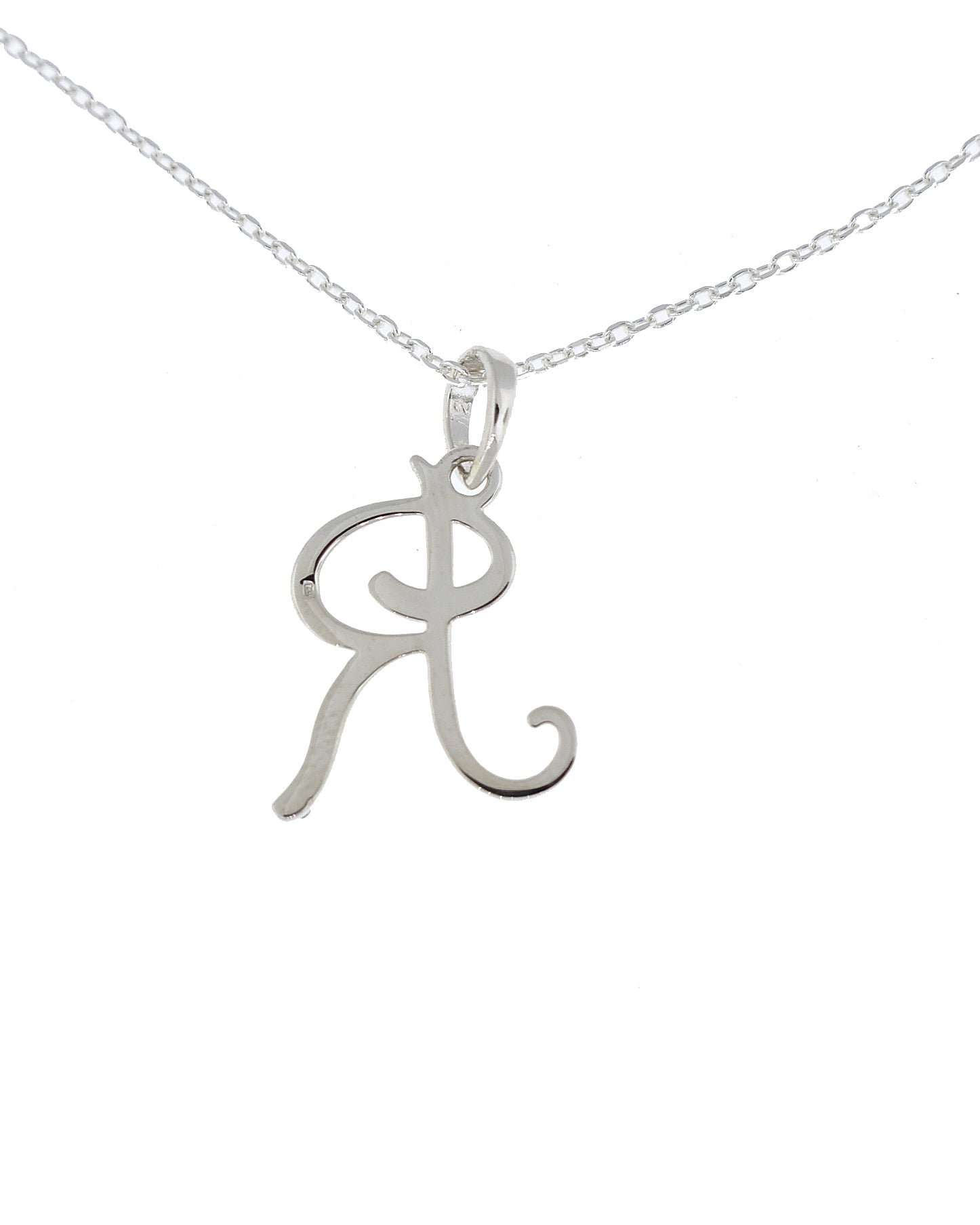 14k Gold or Sterling Silver .03 CTW Diamond Script Letter R Initial Necklace