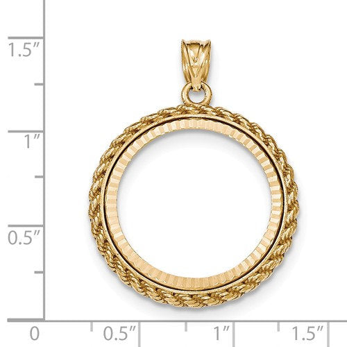 14K Yellow Gold 1/4 oz or One Fourth Ounce American Eagle Coin Holder Holds 22mm x 1.8mm Coin Rope Polished Prong Bezel Pendant Charm