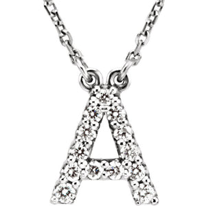 14k Gold 1/8 CTW Diamond Alphabet Initial Letter A Necklace
