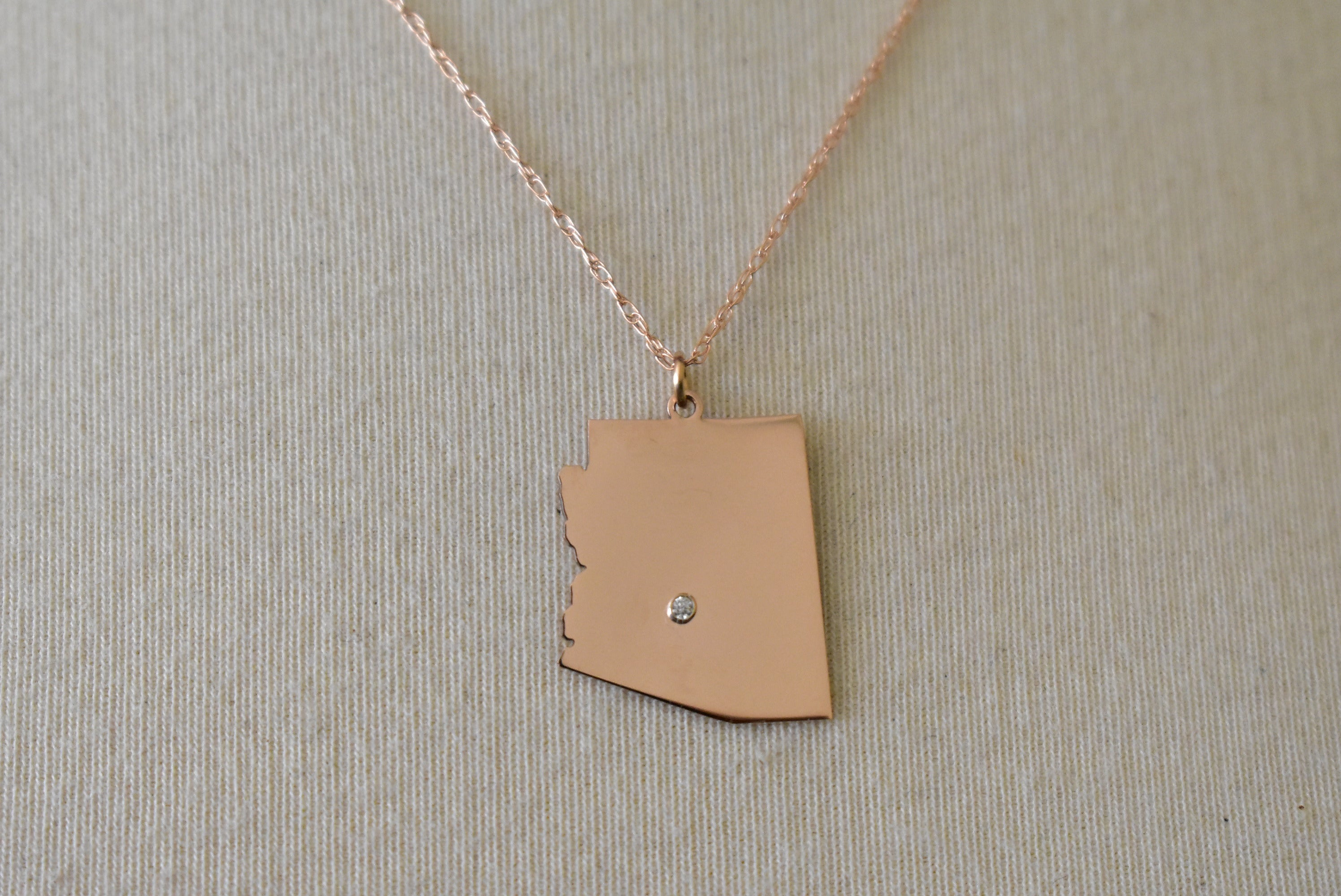 14k Gold 10k Gold Silver Arizona AZ State Map Diamond Personalized City Necklace