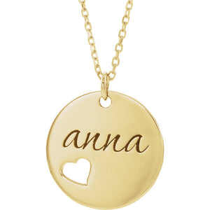 14k Yellow Rose White Gold or Silver Round Disc Heart Pierced Pendant Charm Necklace Personalized Engraved