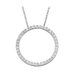 14k Yellow White Rose Gold 1 CTW Diamond 22mm Circle Necklace