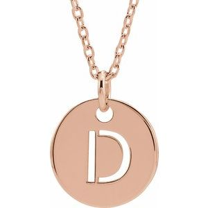 14k Yellow Rose White Gold or Sterling Silver Block Letter D Initial Alphabet Pendant Charm Necklace