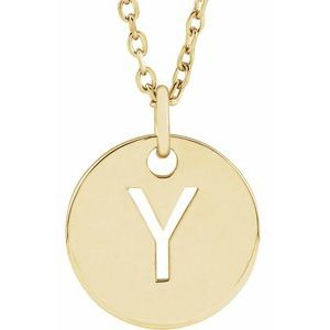 14k Yellow Rose White Gold or Sterling Silver Block Letter Y Initial Alphabet Pendant Charm Necklace
