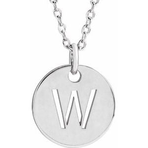 14k Yellow Rose White Gold or Sterling Silver Block Letter W Initial Alphabet Pendant Charm Necklace