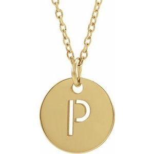 14k Yellow Rose White Gold or Sterling Silver Block Letter P Initial Alphabet Pendant Charm Necklace