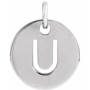 14k Yellow Rose White Gold or Sterling Silver Block Letter U Initial Alphabet Pendant Charm Necklace
