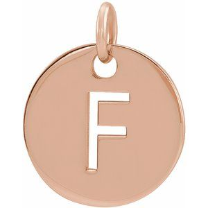 14k Yellow Rose White Gold or Sterling Silver Block Letter F Initial Alphabet Pendant Charm Necklace