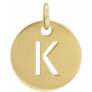14k Yellow Rose White Gold or Sterling Silver Block Letter K Initial Alphabet Pendant Charm Necklace