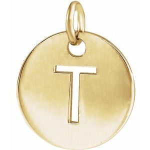 14k Yellow Rose White Gold or Sterling Silver Block Letter T Initial Alphabet Pendant Charm Necklace