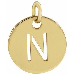 14k Yellow Rose White Gold or Sterling Silver Block Letter N Initial Alphabet Pendant Charm Necklace