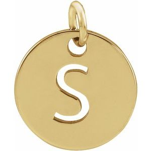 14k Yellow Rose White Gold or Sterling Silver Block Letter S Initial Alphabet Pendant Charm Necklace
