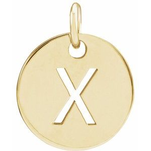 14k Yellow Rose White Gold or Sterling Silver Block Letter X Initial Alphabet Pendant Charm Necklace