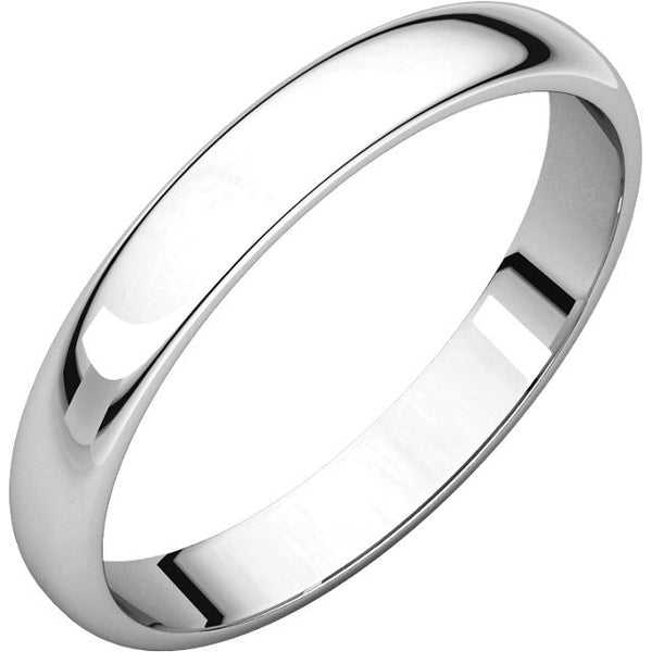 14k White Gold 3mm Wedding Band Ring Half Round Light