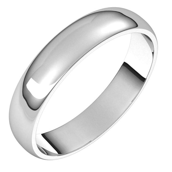 Platinum 4mm Classic Wedding Band Ring Half Round Light