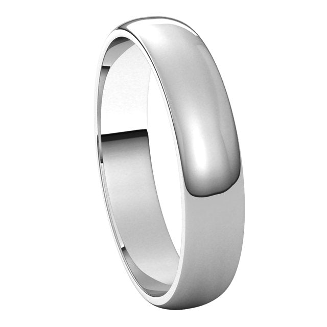 14k White Gold 4mm Classic Wedding Band Ring Half Round Light