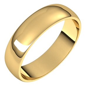 14k Yellow Gold 5mm Wedding Ring Band Half Round Light