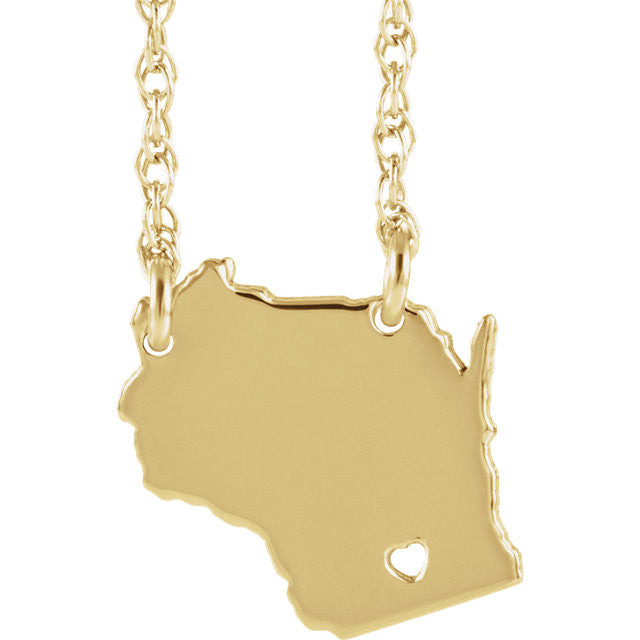 14k Gold 10k Gold Silver Wisconsin State Heart Personalized City Necklace