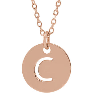 14k Yellow Rose White Gold or Sterling Silver Block Letter C Initial Alphabet Pendant Charm Necklace