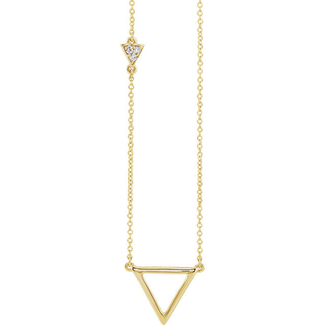 14k Yellow White Rose Gold .05 CTW Diamond Triangle Geometric Style Necklace