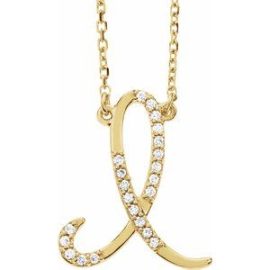 14K Yellow Rose White Gold Diamond Letter I Initial Alphabet Necklace Custom Made To Order