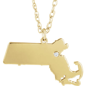 14k Gold 10k Gold Silver Massachusetts MA State Map Diamond Personalized City Necklace