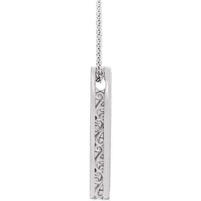 Platinum 14k Yellow Rose White Gold Sterling Silver Name Bar Necklace