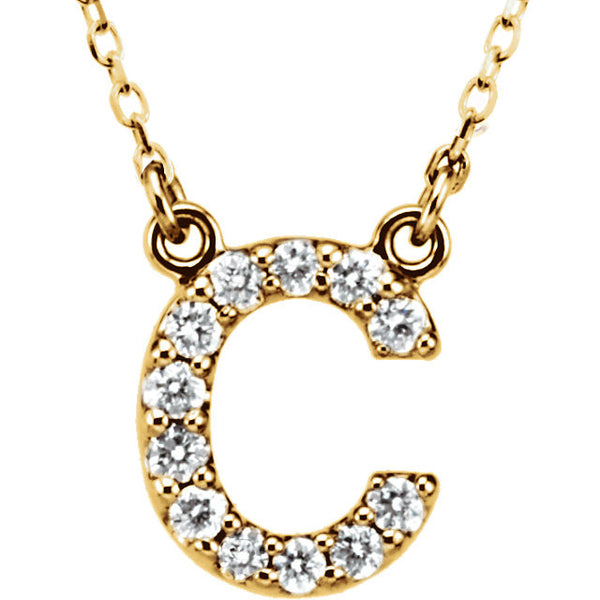 14k Gold 1/6 CTW Diamond Alphabet Initial Letter C Necklace