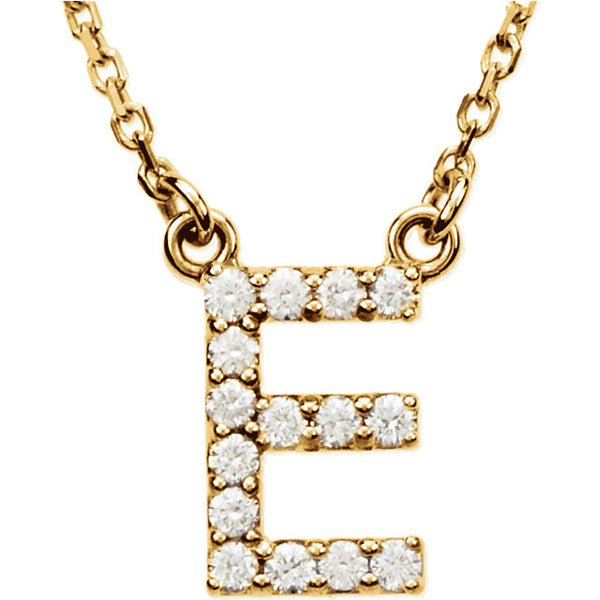 14k Gold 1/6 CTW Diamond Alphabet Initial Letter E Necklace