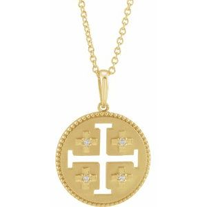 Platinum 14k Yellow Rose White Gold Sterling Silver Diamond Jerusalem Cross Pendant Charm Necklace