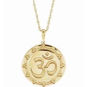 Platinum or 14k Yellow Rose White Gold or Sterling Silver Ohm Om Pendant Charm Necklace
