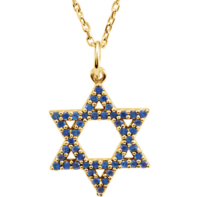 14K Yellow White Gold Genuine Blue Sapphire Small Star of David Pendant Charm Necklace