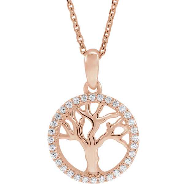 14K Rose Gold 1/5 CTW Diamond Tree of Life Pendant Charm Necklace