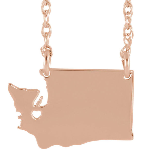 14k Gold 10k Gold Silver Washington State Heart Personalized City Necklace