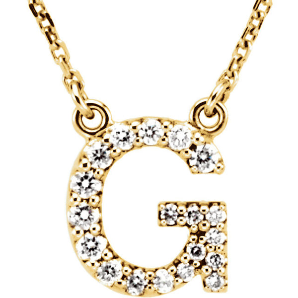14k Gold 1/6 CTW Diamond Alphabet Initial Letter G Necklace