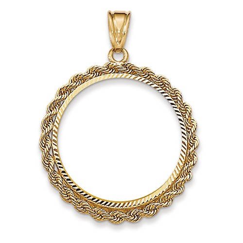 14K Yellow Gold 1/2 oz or Half Ounce American Eagle Coin Holder Holds 27mm x 2.2mm Coin Bezel Rope Edge Diamond Cut Pendant Charm