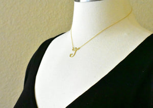 14K Yellow Rose White Gold Diamond Letter J Initial Alphabet Necklace Custom Made To Order