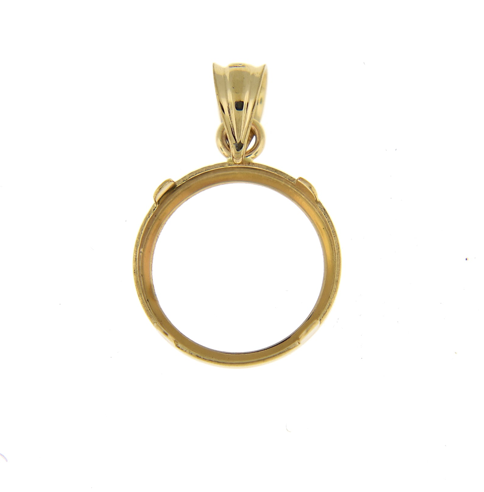 14k Yellow Gold Coin Holder Pendant Charm Holds 13mmx1mm Coins United States US 1 Dollar Mexican 2 Peso