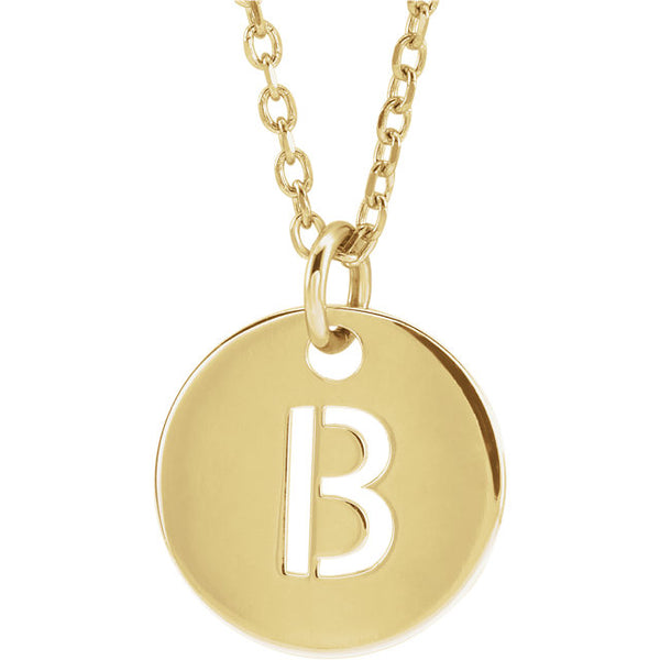 14k Yellow Rose White Gold or Sterling Silver Block Letter B Initial Alphabet Pendant Charm Necklace