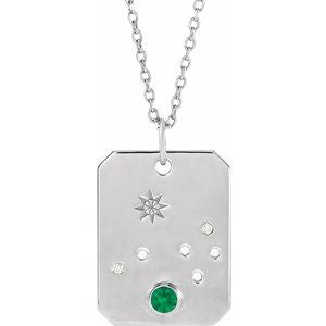 Platinum 14k Yellow Rose White Gold Sterling Silver Diamond and Emerald Aries Zodiac Horoscope Constellation Pendant Necklace