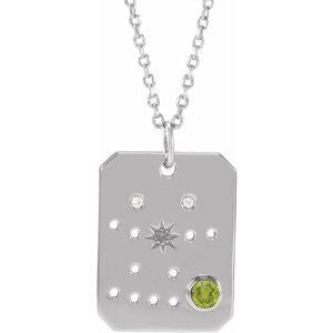 Platinum 14k Yellow Rose White Gold Sterling Silver Diamond Genuine Peridot Gemini Zodiac Horoscope Constellation Pendant Necklace