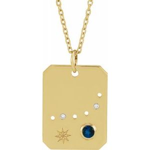 Platinum 14k Yellow Rose White Gold Sterling Silver Diamond Genuine Blue Sapphire Capricorn Zodiac Horoscope Constellation Pendant Necklace